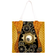 Steampunk Golden Design With Clocks And Gears Grocery Light Tote Bag