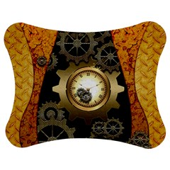 Steampunk Golden Design With Clocks And Gears Jigsaw Puzzle Photo Stand (Bow)
