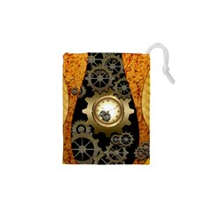 Steampunk Golden Design With Clocks And Gears Drawstring Pouches (xs)