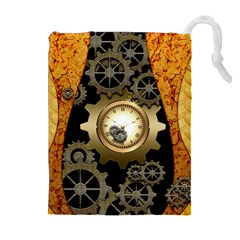 Steampunk Golden Design With Clocks And Gears Drawstring Pouches (extra Large)
