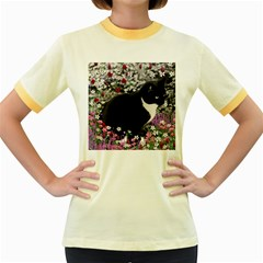Freckles In Flowers Ii, Black White Tux Cat Women s Fitted Ringer T Shirts