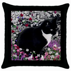 Freckles In Flowers Ii, Black White Tux Cat Throw Pillow Case (black)