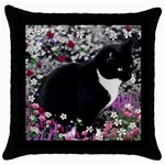 Freckles In Flowers Ii, Black White Tux Cat Throw Pillow Case (Black) Front