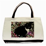 Freckles In Flowers Ii, Black White Tux Cat Basic Tote Bag (Two Sides) Back