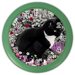 Freckles In Flowers Ii, Black White Tux Cat Color Wall Clocks