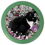 Freckles In Flowers Ii, Black White Tux Cat Color Wall Clocks Front
