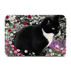 Freckles In Flowers Ii, Black White Tux Cat Plate Mats