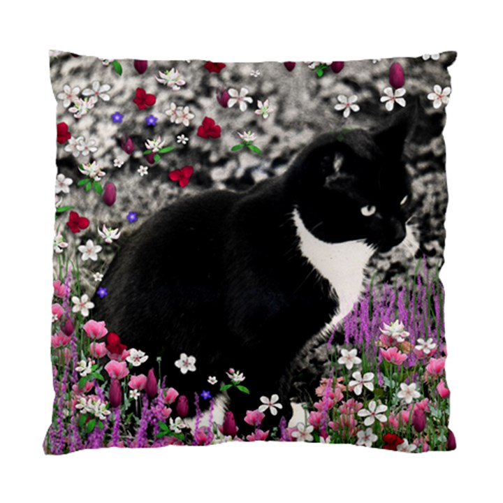 Freckles In Flowers Ii, Black White Tux Cat Standard Cushion Case (One Side)