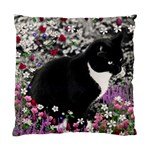 Freckles In Flowers Ii, Black White Tux Cat Standard Cushion Case (Two Sides) Front