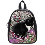 Freckles In Flowers Ii, Black White Tux Cat School Bags (Small)  Front
