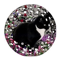 Freckles In Flowers Ii, Black White Tux Cat Round Filigree Ornament (2side)