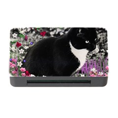 Freckles In Flowers Ii, Black White Tux Cat Memory Card Reader With Cf