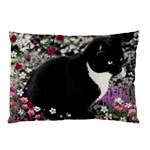 Freckles In Flowers Ii, Black White Tux Cat Pillow Case (Two Sides) Front