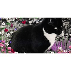 Freckles In Flowers Ii, Black White Tux Cat You Are Invited 3d Greeting Card (8x4)