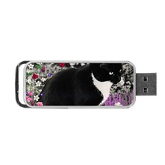 Freckles In Flowers Ii, Black White Tux Cat Portable Usb Flash (one Side)