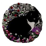 Freckles In Flowers Ii, Black White Tux Cat Large 18  Premium Round Cushions Back