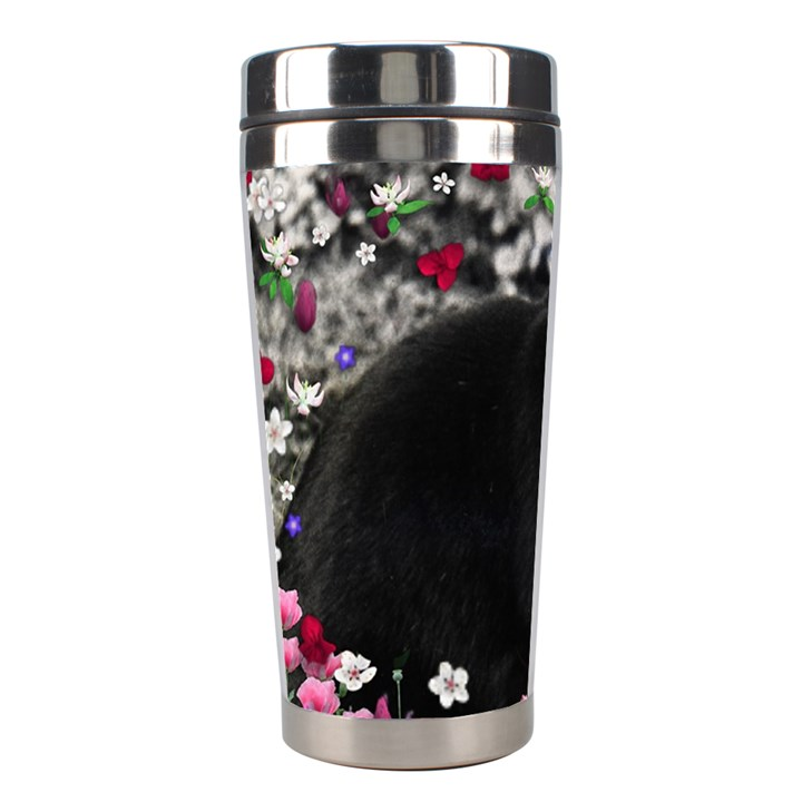 Freckles In Flowers Ii, Black White Tux Cat Stainless Steel Travel Tumblers