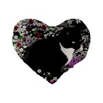 Freckles In Flowers Ii, Black White Tux Cat Standard 16  Premium Flano Heart Shape Cushions Front
