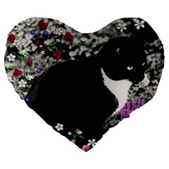 Freckles In Flowers Ii, Black White Tux Cat Large 19  Premium Flano Heart Shape Cushions