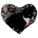 Freckles In Flowers Ii, Black White Tux Cat Large 19  Premium Flano Heart Shape Cushions Front