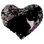Freckles In Flowers Ii, Black White Tux Cat Large 19  Premium Flano Heart Shape Cushions Back
