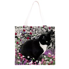 Freckles In Flowers Ii, Black White Tux Cat Grocery Light Tote Bag