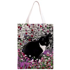 Freckles In Flowers Ii, Black White Tux Cat Classic Light Tote Bag