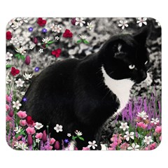 Freckles In Flowers Ii, Black White Tux Cat Double Sided Flano Blanket (small)