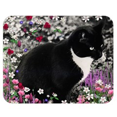 Freckles In Flowers Ii, Black White Tux Cat Double Sided Flano Blanket (medium)