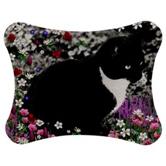 Freckles In Flowers Ii, Black White Tux Cat Jigsaw Puzzle Photo Stand (bow)