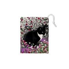 Freckles In Flowers Ii, Black White Tux Cat Drawstring Pouches (XS)