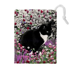 Freckles In Flowers Ii, Black White Tux Cat Drawstring Pouches (extra Large)