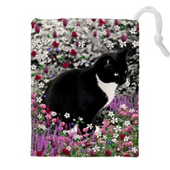 Freckles In Flowers Ii, Black White Tux Cat Drawstring Pouches (XXL)