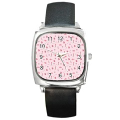 Cute Pink Birds And Flowers Pattern Square Metal Watch