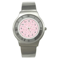 Cute Pink Birds And Flowers Pattern Stainless Steel Watch