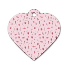 Cute Pink Birds And Flowers Pattern Dog Tag Heart (Two Sides)