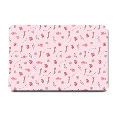 Cute Pink Birds And Flowers Pattern Small Doormat