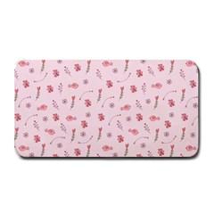 Cute Pink Birds And Flowers Pattern Medium Bar Mats