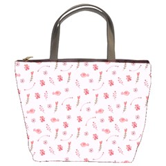 Cute Pink Birds And Flowers Pattern Bucket Bags