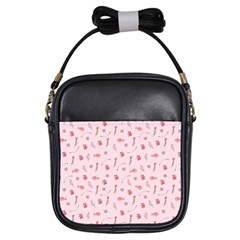 Cute Pink Birds And Flowers Pattern Girls Sling Bags