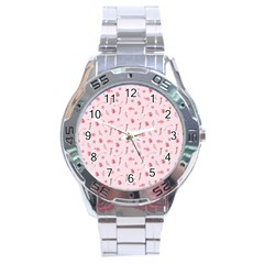 Cute Pink Birds And Flowers Pattern Stainless Steel Analogue Watch
