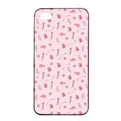 Cute Pink Birds And Flowers Pattern Apple iPhone 4/4s Seamless Case (Black)