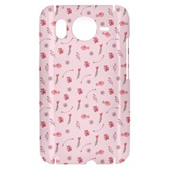 Cute Pink Birds And Flowers Pattern HTC Desire HD Hardshell Case