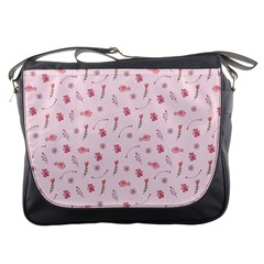 Cute Pink Birds And Flowers Pattern Messenger Bags