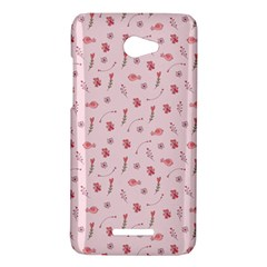 Cute Pink Birds And Flowers Pattern HTC Butterfly X920E Hardshell Case