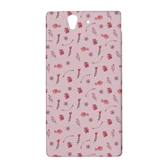 Cute Pink Birds And Flowers Pattern Sony Xperia Z