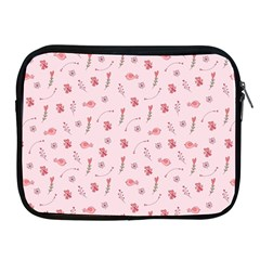 Cute Pink Birds And Flowers Pattern Apple iPad 2/3/4 Zipper Cases
