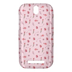 Cute Pink Birds And Flowers Pattern HTC One SV Hardshell Case