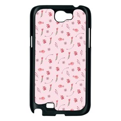 Cute Pink Birds And Flowers Pattern Samsung Galaxy Note 2 Case (Black)