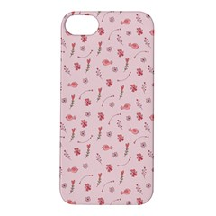 Cute Pink Birds And Flowers Pattern Apple iPhone 5S/ SE Hardshell Case